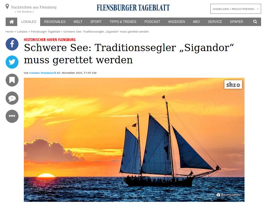 """Flensburger Tageblatt vom 3.11.2020: Artikel über die Sigandor und die Spenden-Aktion wegen Corona-Einbruch. Schwere See: Traditionssegler """"Sigandor"""" muss gerettet werden – Quelle: https://www.shz.de/30147477 ©2020"""