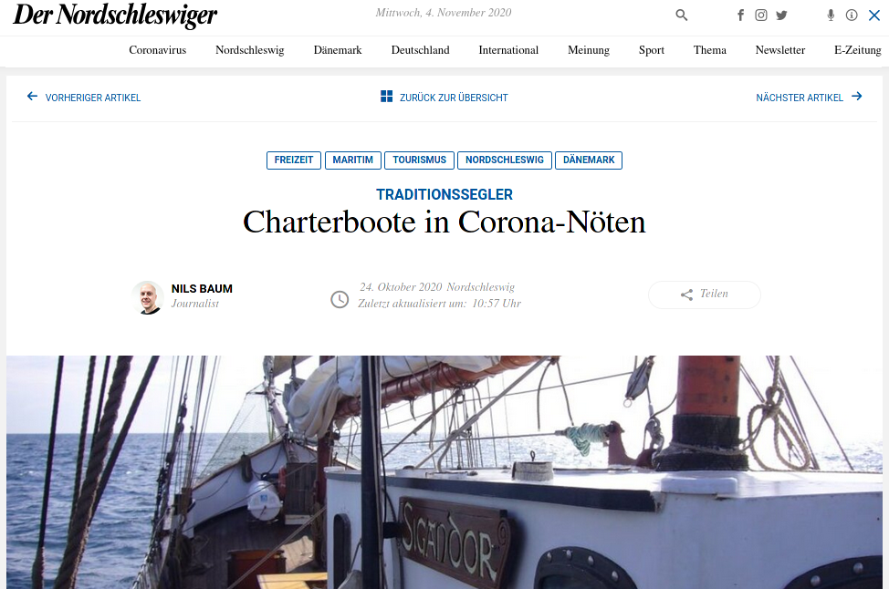 Screenshot Der Nordschleswiger vom 24.10.2020 zum Segelschiff Sigandor und ihrem Crowdfunding, Spendenaufruf